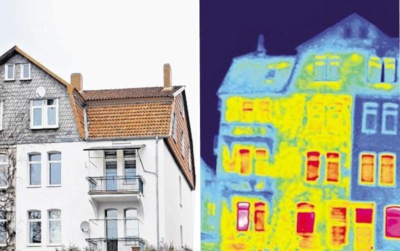 Normale und Thermografie Aufnahme eines Gebäudes